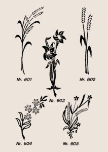 Ornamenter blomster og korn